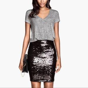 Calvin Klein Black Sequin Pencil Skirt